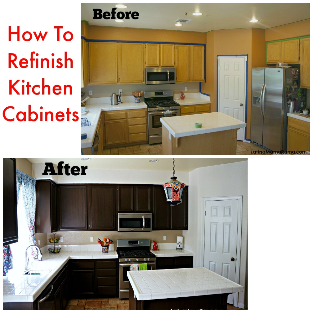 how to refinish your kitchen cabinets latina mama rama. Black Bedroom Furniture Sets. Home Design Ideas